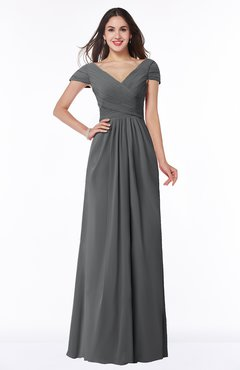 ColsBM Evie Grey Glamorous A-line Short Sleeve Floor Length Ruching Plus Size Bridesmaid Dresses