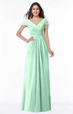 ColsBM Evie Honeydew Glamorous A-line Short Sleeve Floor Length Ruching Plus Size Bridesmaid Dresses