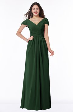 ColsBM Evie Hunter Green Glamorous A-line Short Sleeve Floor Length Ruching Plus Size Bridesmaid Dresses