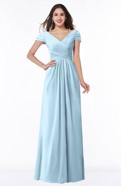 ColsBM Evie Ice Blue Glamorous A-line Short Sleeve Floor Length Ruching Plus Size Bridesmaid Dresses