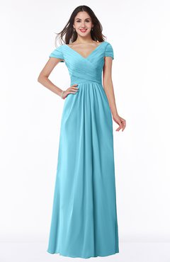 ColsBM Evie Light Blue Glamorous A-line Short Sleeve Floor Length Ruching Plus Size Bridesmaid Dresses