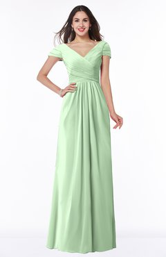 ColsBM Evie Light Green Glamorous A-line Short Sleeve Floor Length Ruching Plus Size Bridesmaid Dresses