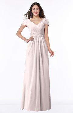 ColsBM Evie Light Pink Glamorous A-line Short Sleeve Floor Length Ruching Plus Size Bridesmaid Dresses