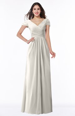 ColsBM Evie Off White Glamorous A-line Short Sleeve Floor Length Ruching Plus Size Bridesmaid Dresses