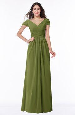 ColsBM Evie Olive Green Glamorous A-line Short Sleeve Floor Length Ruching Plus Size Bridesmaid Dresses