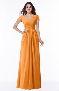 ColsBM Evie Orange Glamorous A-line Short Sleeve Floor Length Ruching Plus Size Bridesmaid Dresses