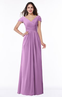 ColsBM Evie Orchid Glamorous A-line Short Sleeve Floor Length Ruching Plus Size Bridesmaid Dresses