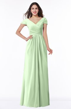 ColsBM Evie Pale Green Glamorous A-line Short Sleeve Floor Length Ruching Plus Size Bridesmaid Dresses