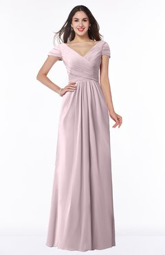 ColsBM Evie Pale Lilac Glamorous A-line Short Sleeve Floor Length Ruching Plus Size Bridesmaid Dresses
