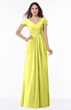 ColsBM Evie Pale Yellow Glamorous A-line Short Sleeve Floor Length Ruching Plus Size Bridesmaid Dresses