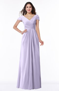 ColsBM Evie Pastel Lilac Glamorous A-line Short Sleeve Floor Length Ruching Plus Size Bridesmaid Dresses