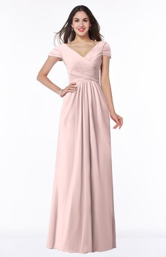 ColsBM Evie Pastel Pink Glamorous A-line Short Sleeve Floor Length Ruching Plus Size Bridesmaid Dresses