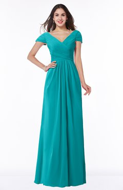 ColsBM Evie Peacock Blue Glamorous A-line Short Sleeve Floor Length Ruching Plus Size Bridesmaid Dresses