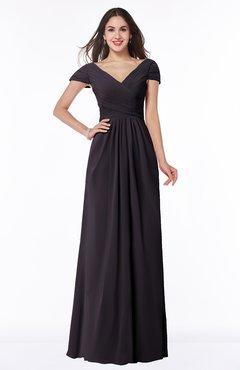 ColsBM Evie Perfect Plum Glamorous A-line Short Sleeve Floor Length Ruching Plus Size Bridesmaid Dresses