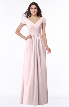 ColsBM Evie Petal Pink Glamorous A-line Short Sleeve Floor Length Ruching Plus Size Bridesmaid Dresses