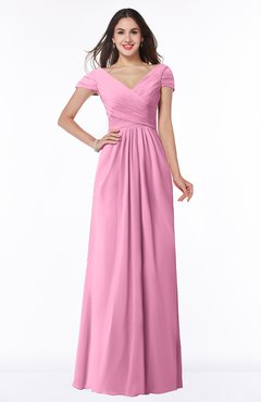 ColsBM Evie Pink Glamorous A-line Short Sleeve Floor Length Ruching Plus Size Bridesmaid Dresses