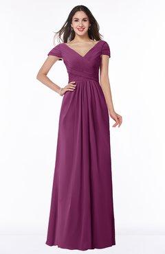 ColsBM Evie Raspberry Glamorous A-line Short Sleeve Floor Length Ruching Plus Size Bridesmaid Dresses