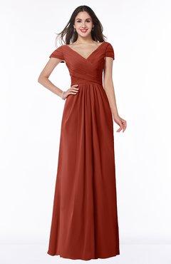ColsBM Evie Rust Glamorous A-line Short Sleeve Floor Length Ruching Plus Size Bridesmaid Dresses