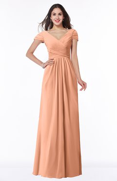 ColsBM Evie Salmon Glamorous A-line Short Sleeve Floor Length Ruching Plus Size Bridesmaid Dresses