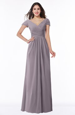 ColsBM Evie Sea Fog Glamorous A-line Short Sleeve Floor Length Ruching Plus Size Bridesmaid Dresses