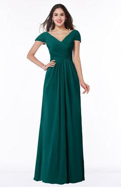 ColsBM Evie Shaded Spruce Glamorous A-line Short Sleeve Floor Length Ruching Plus Size Bridesmaid Dresses