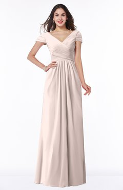 ColsBM Evie Silver Peony Glamorous A-line Short Sleeve Floor Length Ruching Plus Size Bridesmaid Dresses