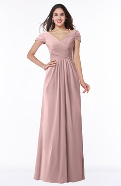 Colsbm Evie Silver Pink Glamorous A Line Short Sleeve Floor Length Ruching Plus Size Bridesmaid