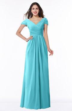 ColsBM Evie Turquoise Glamorous A-line Short Sleeve Floor Length Ruching Plus Size Bridesmaid Dresses