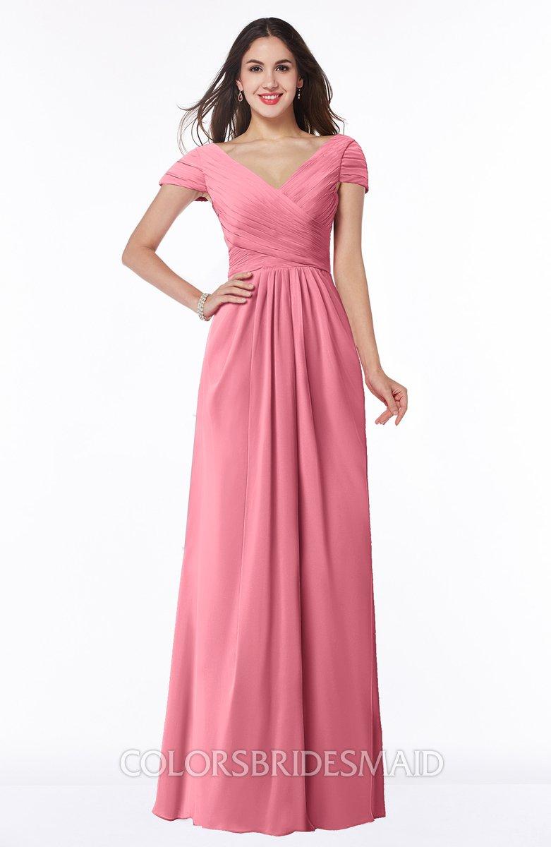 2b526ec8eb8 ColsBM Evie Watermelon Glamorous A-line Short Sleeve Floor Length Ruching  Plus Size Bridesmaid Dresses