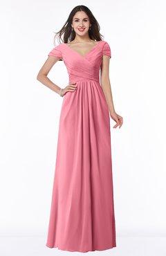 ColsBM Evie Watermelon Glamorous A-line Short Sleeve Floor Length Ruching Plus Size Bridesmaid Dresses