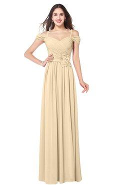 ColsBM Susan Apricot Gelato Mature Short Sleeve Zipper Floor Length Ribbon Plus Size Bridesmaid Dresses