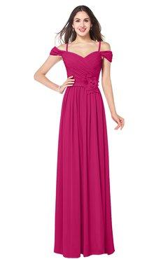 ColsBM Susan Beetroot Purple Mature Short Sleeve Zipper Floor Length Ribbon Plus Size Bridesmaid Dresses