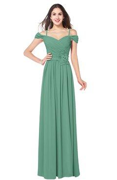 ColsBM Susan Beryl Green Mature Short Sleeve Zipper Floor Length Ribbon Plus Size Bridesmaid Dresses