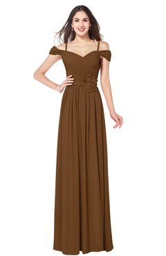 ColsBM Susan Brown Mature Short Sleeve Zipper Floor Length Ribbon Plus Size Bridesmaid Dresses