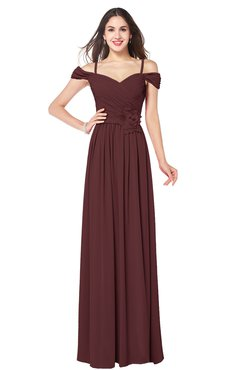 ColsBM Susan Burgundy Mature Short Sleeve Zipper Floor Length Ribbon Plus Size Bridesmaid Dresses