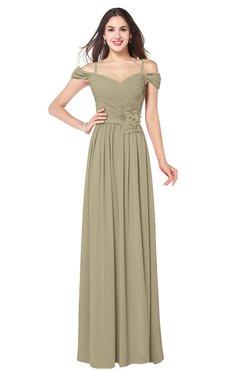 ColsBM Susan Candied Ginger Mature Short Sleeve Zipper Floor Length Ribbon Plus Size Bridesmaid Dresses