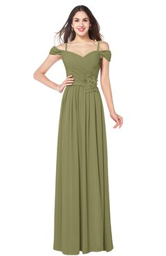 ColsBM Susan Cedar Mature Short Sleeve Zipper Floor Length Ribbon Plus Size Bridesmaid Dresses