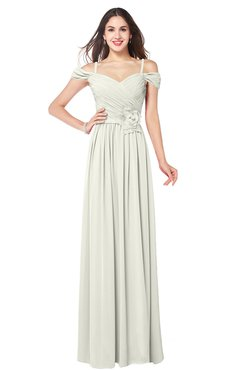 ColsBM Susan Cream Mature Short Sleeve Zipper Floor Length Ribbon Plus Size Bridesmaid Dresses