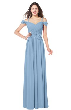 ColsBM Susan Dusty Blue Mature Short Sleeve Zipper Floor Length Ribbon Plus Size Bridesmaid Dresses