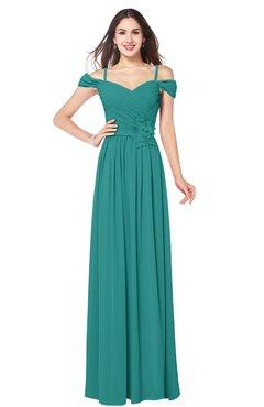 ColsBM Susan Emerald Green Mature Short Sleeve Zipper Floor Length Ribbon Plus Size Bridesmaid Dresses