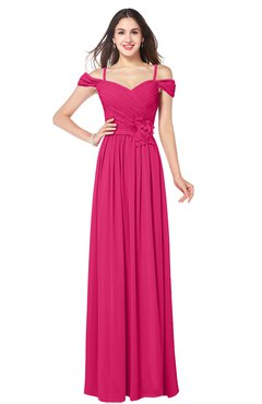 ColsBM Susan Fuschia Mature Short Sleeve Zipper Floor Length Ribbon Plus Size Bridesmaid Dresses