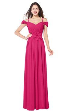 ColsBM Susan Fuschia Mature Short Sleeve Zipper Floor Length Ribbon Plus Size Bridesmaid Dresses