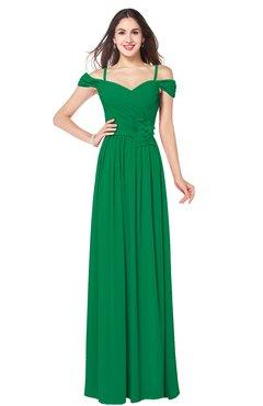 ColsBM Susan Green Mature Short Sleeve Zipper Floor Length Ribbon Plus Size Bridesmaid Dresses