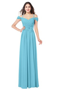 ColsBM Susan Light Blue Mature Short Sleeve Zipper Floor Length Ribbon Plus Size Bridesmaid Dresses