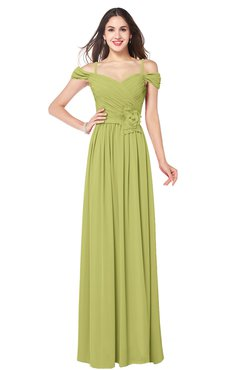 ColsBM Susan Linden Green Mature Short Sleeve Zipper Floor Length Ribbon Plus Size Bridesmaid Dresses