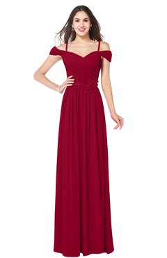 ColsBM Susan Maroon Mature Short Sleeve Zipper Floor Length Ribbon Plus Size Bridesmaid Dresses