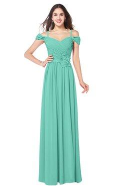 ColsBM Susan Mint Green Mature Short Sleeve Zipper Floor Length Ribbon Plus Size Bridesmaid Dresses