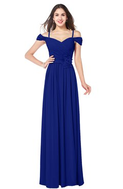 ColsBM Susan Nautical Blue Mature Short Sleeve Zipper Floor Length Ribbon Plus Size Bridesmaid Dresses