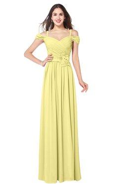 fb61bb7fa0af ColsBM Susan Pastel Yellow Mature Short Sleeve Zipper Floor Length Ribbon  Plus Size Bridesmaid Dresses