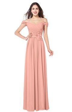 ColsBM Susan Peach Mature Short Sleeve Zipper Floor Length Ribbon Plus Size Bridesmaid Dresses